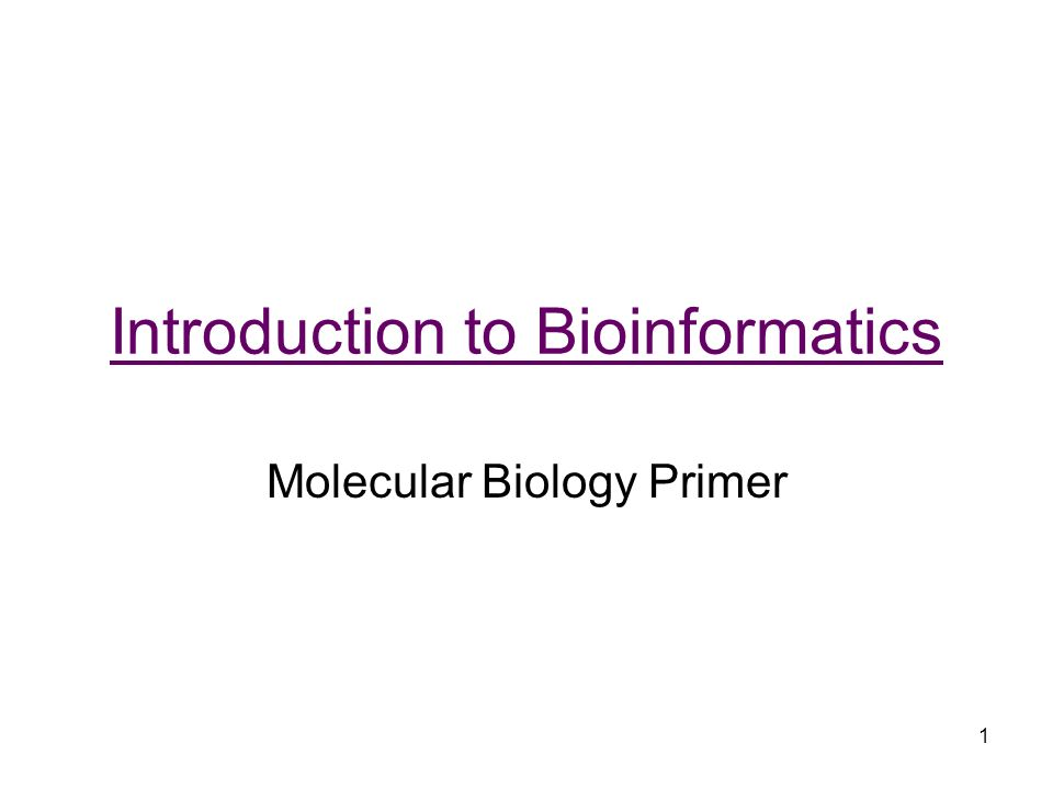 Introduction To Bioinformatics Molecular Biology Primer Ppt Download