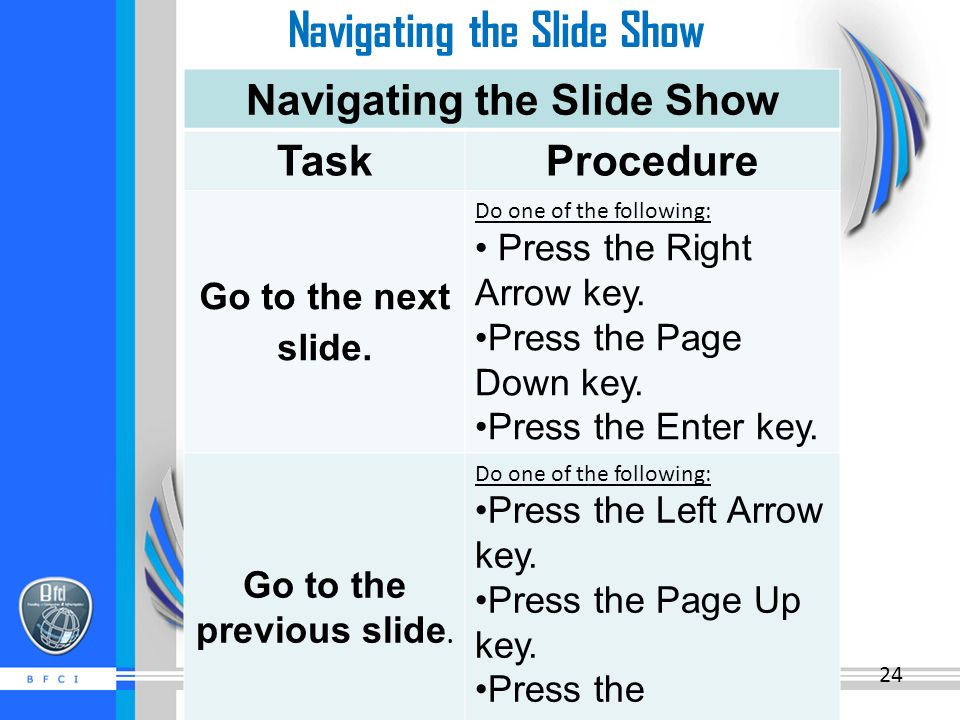 Navigating the Slide Show ProcedureTask Do one of the following: Press the Right Arrow key.