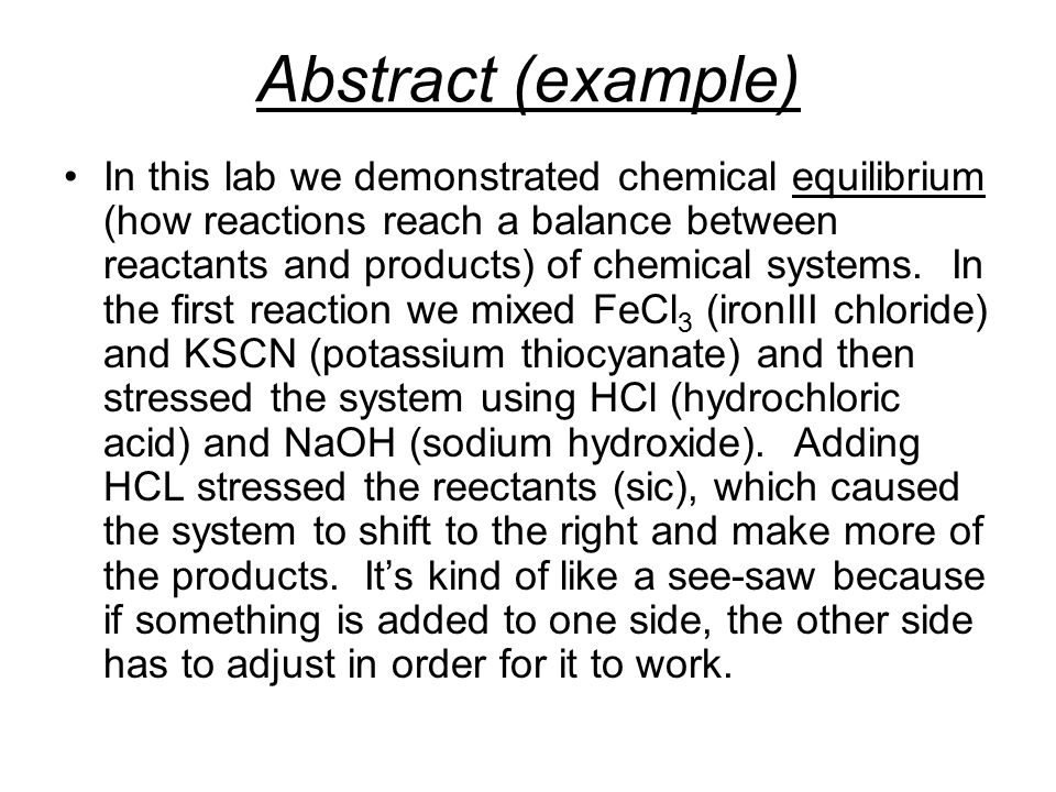 write a lab report abstract