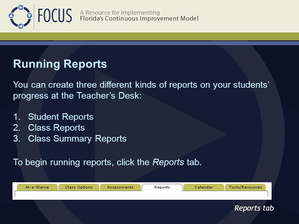 Reports tab You can create three different kinds of reports on your students' progress at the Teacher's Desk: 1.Student Reports 2.Class Reports 3.Class Summary Reports To begin running reports, click the Reports tab.