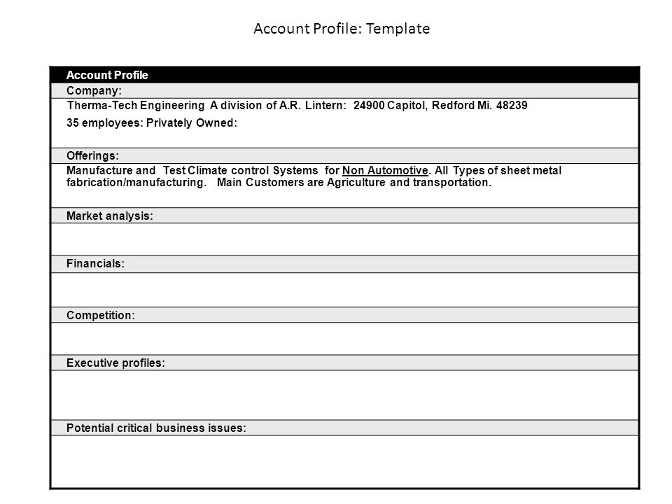 Account Profile: Template Account Profile Company: Therma Tech Engineering  A Division Of A.R.  Executive Profile Template