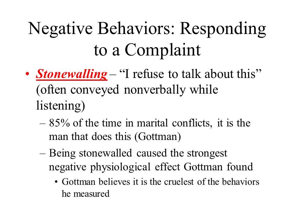 Responding to stonewalling