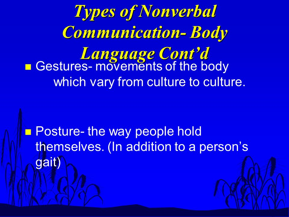 Types of Nonverbal Communication- Body Language Cont'd n Gestures- movements of the body which vary from culture to culture.