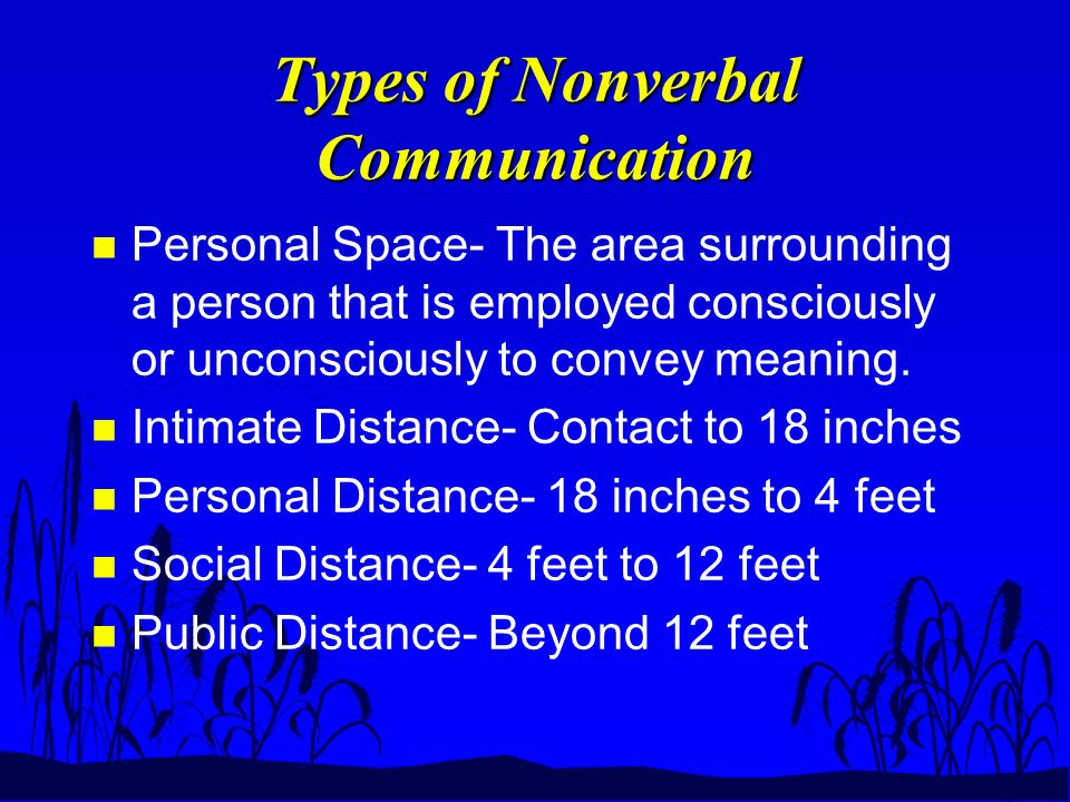 Types of Nonverbal Communication n Personal Space- The area surrounding a person that is employed consciously or unconsciously to convey meaning.