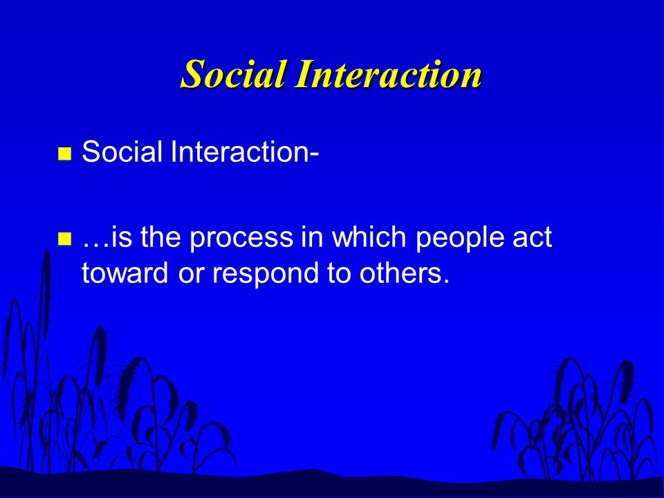 Social Interaction n Social Interaction- n …is the process in which people act toward or respond to others.