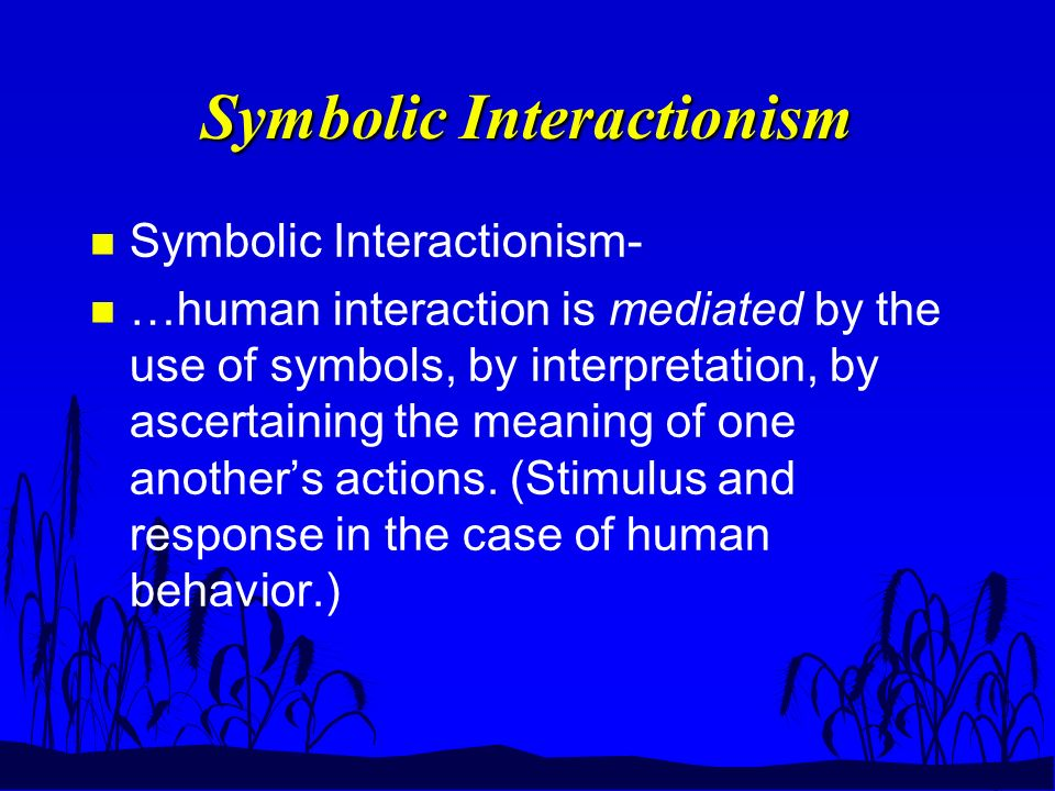 Symbolic Interactionism n Symbolic Interactionism- n …human interaction is mediated by the use of symbols, by interpretation, by ascertaining the meaning of one another's actions.
