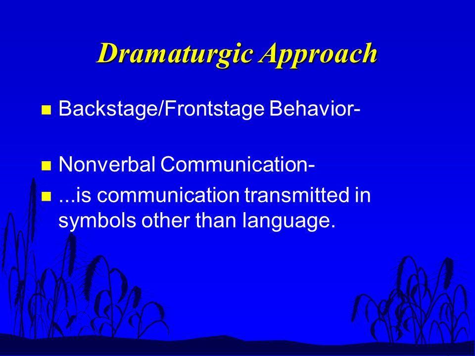 Dramaturgic Approach n Backstage/Frontstage Behavior- n Nonverbal Communication- n...is communication transmitted in symbols other than language.