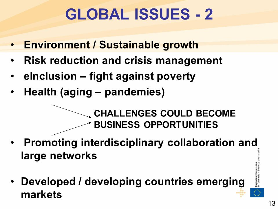 Environment / Sustainable growth Risk reduction and crisis management eInclusion – fight against poverty Health (aging – pandemies) CHALLENGES COULD BECOME BUSINESS OPPORTUNITIES Promoting interdisciplinary collaboration and large networks Developed / developing countries emerging markets GLOBAL ISSUES