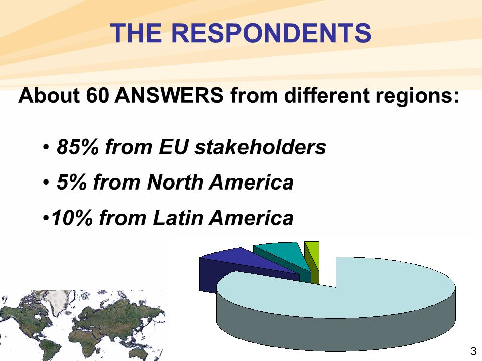 THE RESPONDENTS About 60 ANSWERS from different regions: 85% from EU stakeholders 5% from North America 10% from Latin America 3