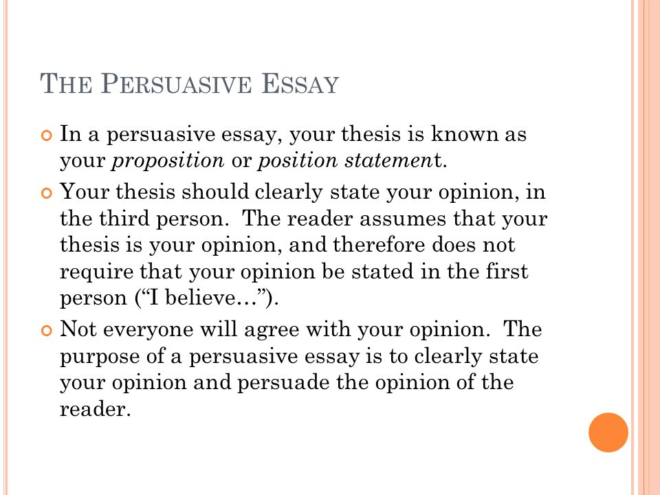 Composition The Paragraph The Thesis Statement The Persuasive Five T He P  Ersuasive E Ssay In
