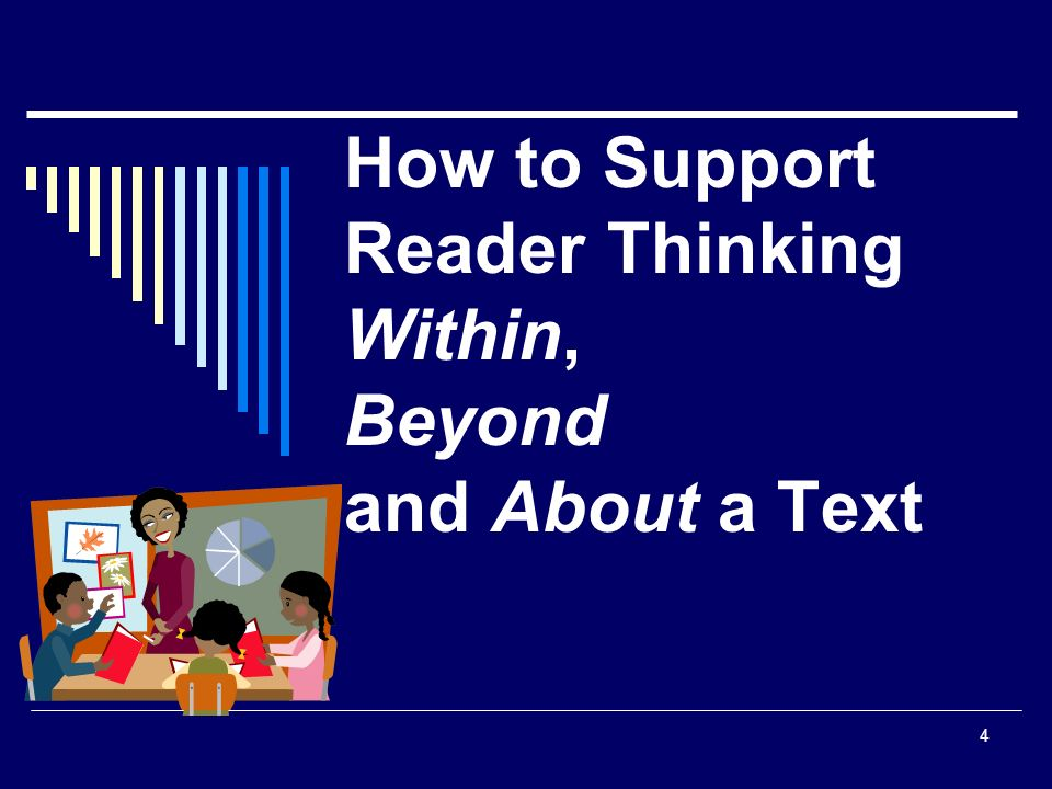 4 How to Support Reader Thinking Within, Beyond and About a Text