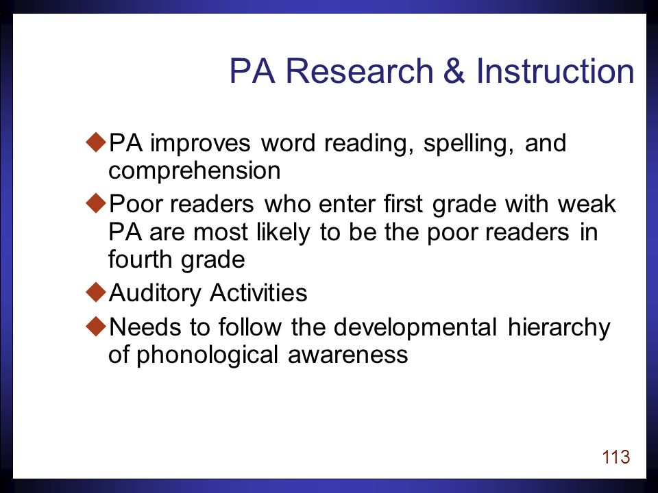 112 Phonemic Awareness Phonemic awareness is the ability to hear, identify, and manipulate individual sounds in spoken words (Torgesen, 1998).