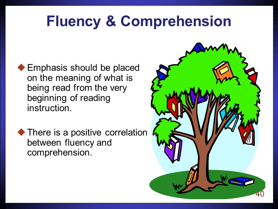 39 Fluency The ability to read text -quickly, -accurately, -and with proper expression.