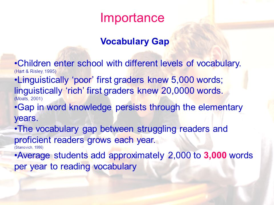 63 Vocabulary: Importance Relationship between vocabulary Score (PPVT) measures in Kindergarten and later reading comprehension: End of Grade One -.45 End of Grade Four -.62 End of Grade Seven -.69 The relationship of vocabulary to reading comprehension gets stronger as reading material becomes more complex and the vocabulary becomes more extensive (Snow, 2002).