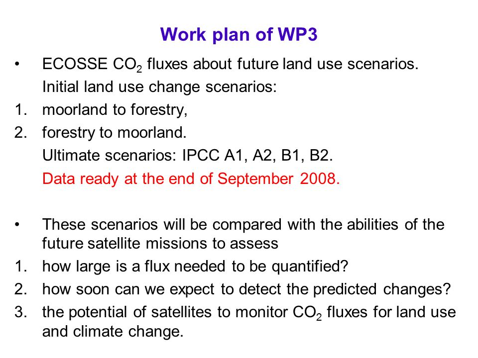 Work plan of WP3 ECOSSE CO 2 fluxes about future land use scenarios.