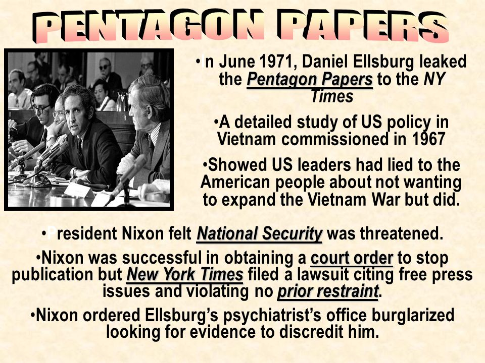 """leaking of the pentagon paper Ellsberg shares motives behind pentagon that prohibited the federal government from stopping the times or any other paper from """"the pentagon papers had."""