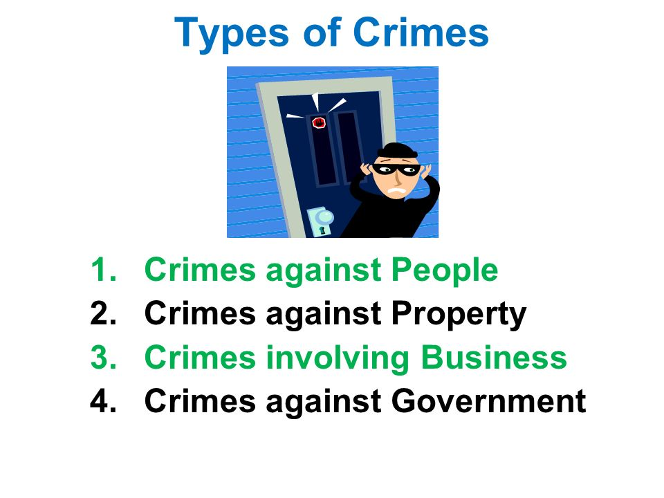 Types of Crimes 1.Crimes against People 2.Crimes against Property 3.Crimes involving Business 4.Crimes against Government
