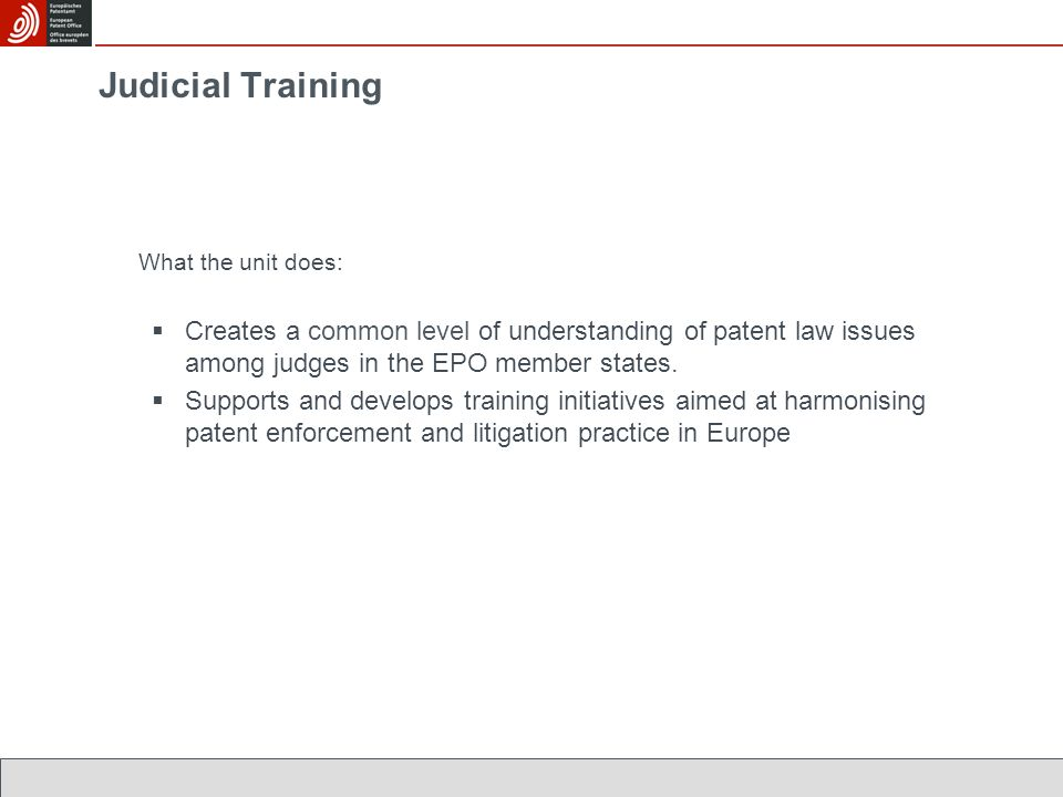 Judicial Training What the unit does:  Creates a common level of understanding of patent law issues among judges in the EPO member states.