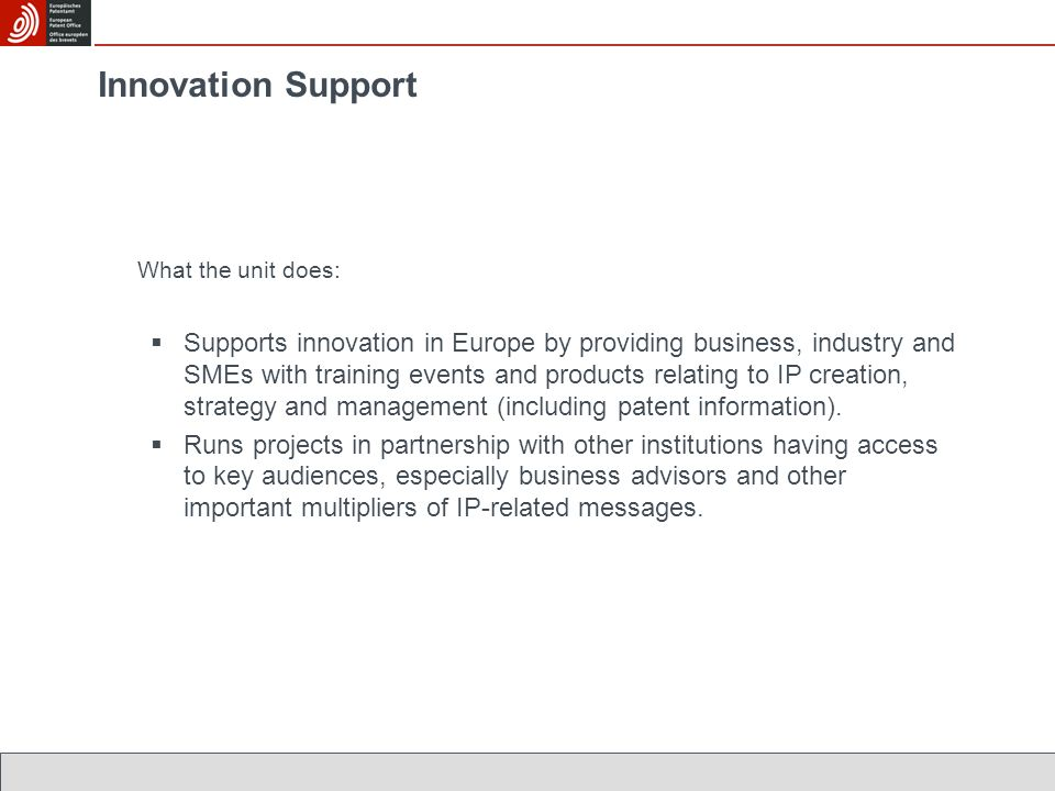 Innovation Support What the unit does:  Supports innovation in Europe by providing business, industry and SMEs with training events and products relating to IP creation, strategy and management (including patent information).