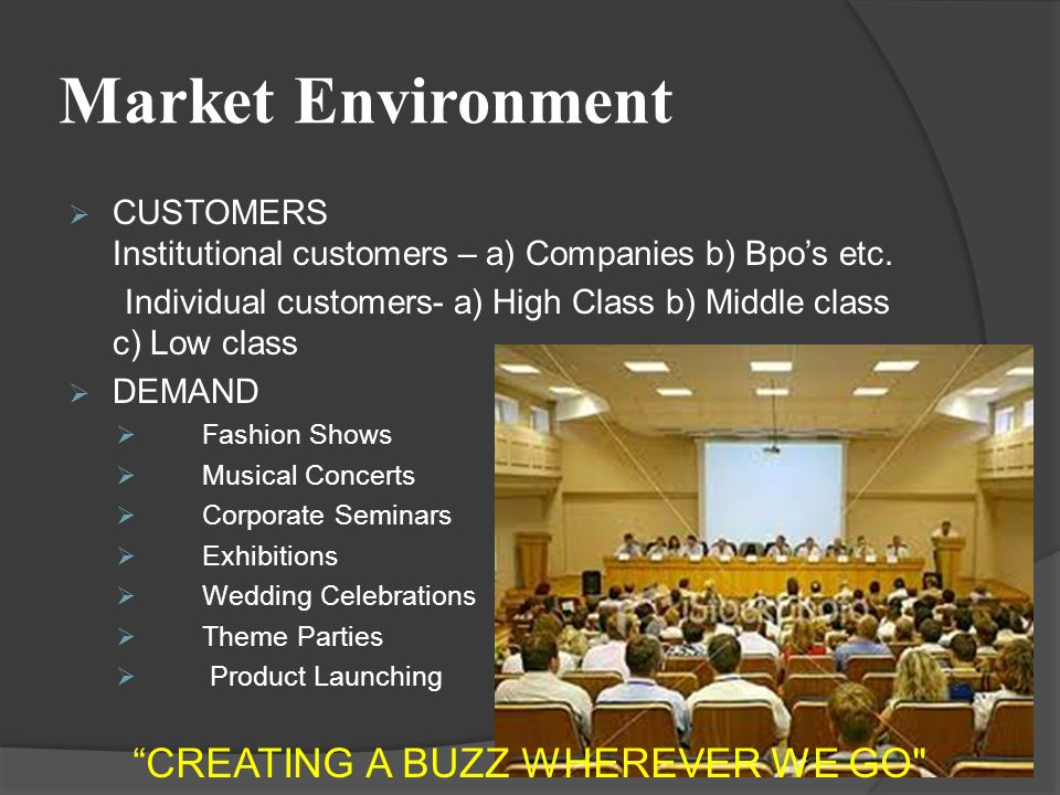 Market Environment  CUSTOMERS Institutional customers – a) Companies b) Bpo's etc.