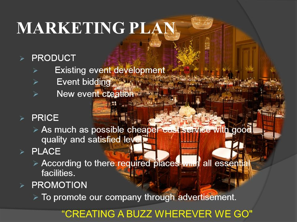 MARKETING PLAN  PRODUCT  Existing event development  Event bidding  New event creation  PRICE  As much as possible cheaper cost service with good quality and satisfied level.