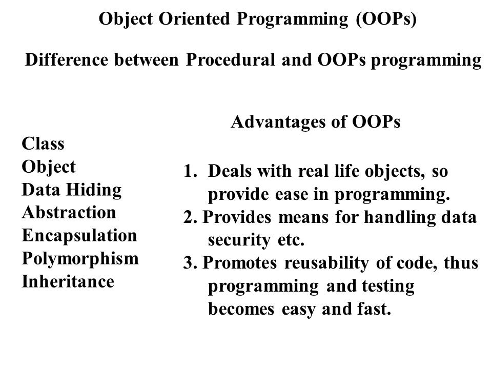 a comparison between object oriented programming and procedural programming This solution explains in brief the differences between procedural and object oriented programming it also includes code samples in java to explain the fundamental differences.