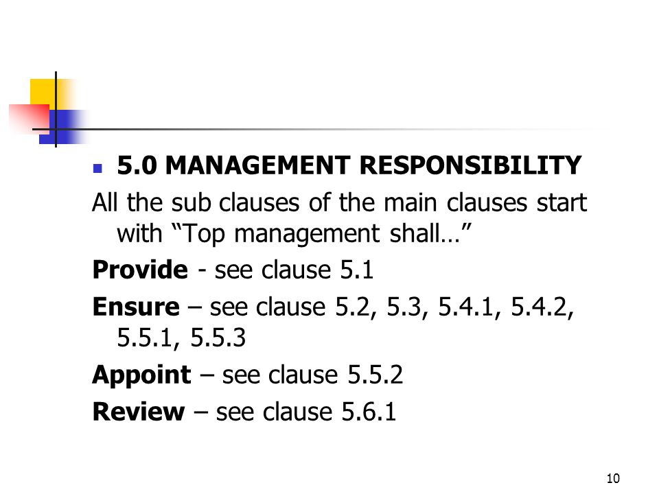 10 5.0 MANAGEMENT RESPONSIBILITY All the sub clauses of the main clauses start with Top management shall… Provide - see clause 5.1 Ensure – see clause 5.2, 5.3, 5.4.1, 5.4.2, 5.5.1, 5.5.3 Appoint – see clause 5.5.2 Review – see clause 5.6.1