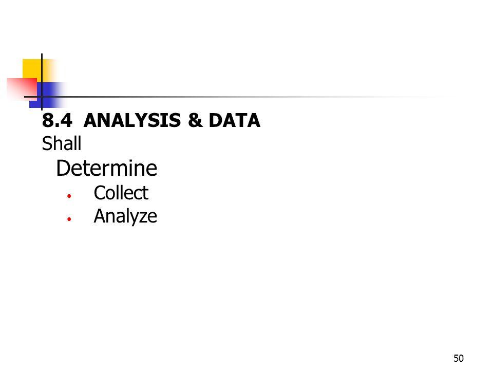 50 8.4 ANALYSIS & DATA Shall Determine Collect Analyze