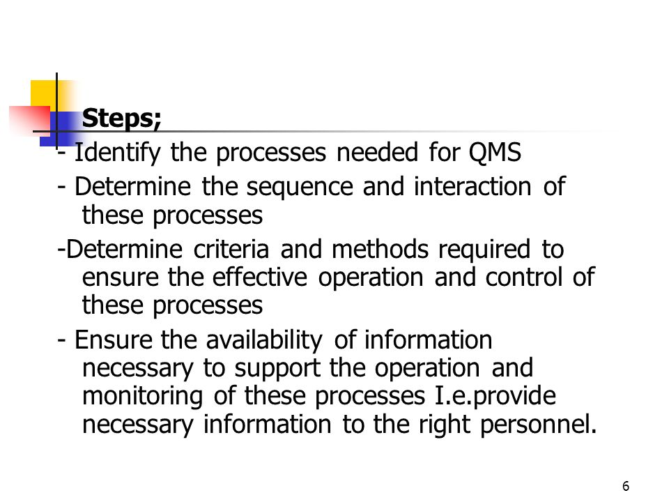 6 Steps; - Identify the processes needed for QMS - Determine the sequence and interaction of these processes -Determine criteria and methods required to ensure the effective operation and control of these processes - Ensure the availability of information necessary to support the operation and monitoring of these processes I.e.provide necessary information to the right personnel.