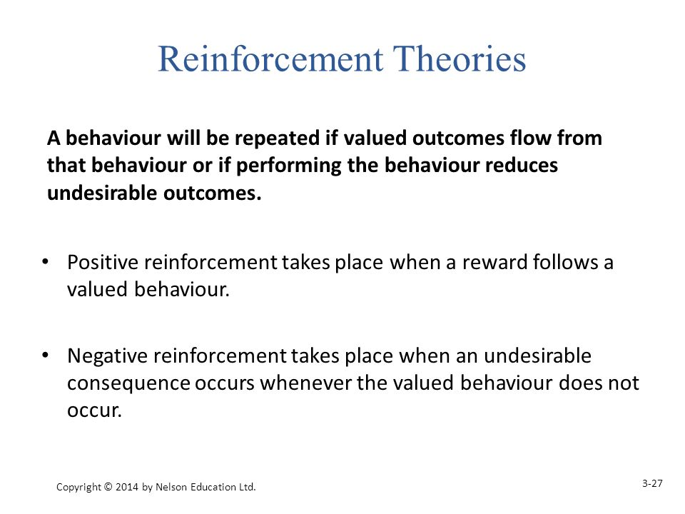 Positive reinforcement takes place when a reward follows a valued behaviour.