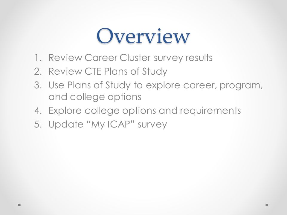 Overview 1.Review Career Cluster survey results 2.Review CTE Plans of Study 3.Use Plans of Study to explore career, program, and college options 4.Explore college options and requirements 5.Update My ICAP survey