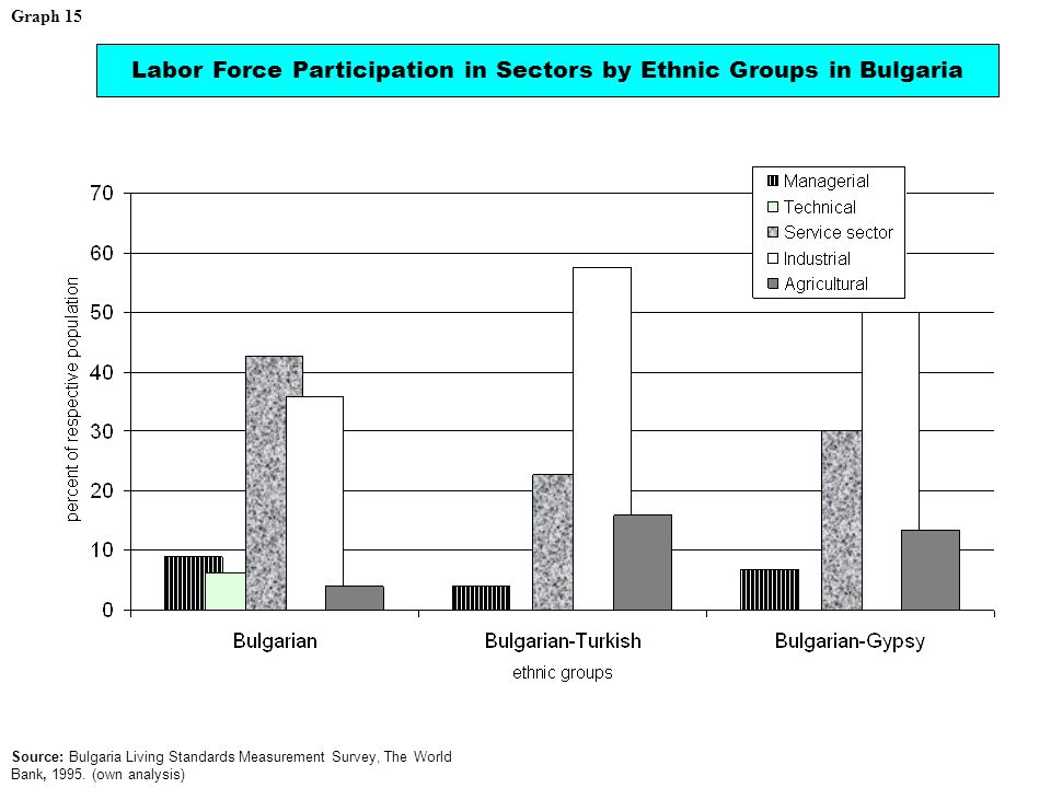 Labor Force Participation in Sectors by Ethnic Groups in Bulgaria Source: Bulgaria Living Standards Measurement Survey, The World Bank, 1995.