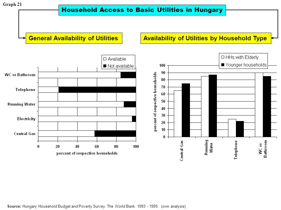 Graph 21 Household Access to Basic Utilities in Hungary Source: Hungary Household Budget and Poverty Survey.