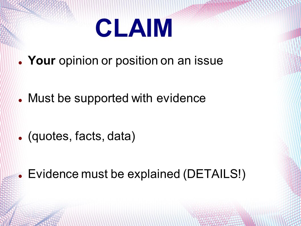 the argumentative essay introducing the counter argument and 4 claim your opinion or position on an issue must be supported evidence quotes facts data evidence must be explained details