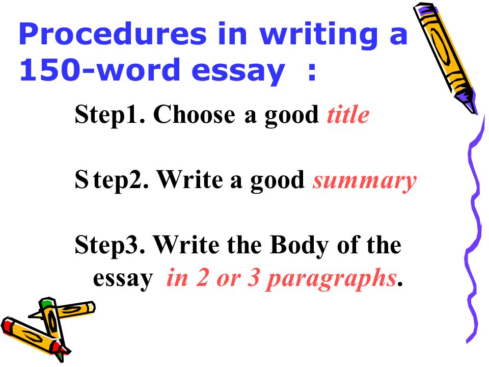 steps to writing a summary essay A summary is a concise paraphrase of all the main ideas in an essay it cites the author and the title (usually in the first sentence) it contains the essay's thesis and supporting ideas it may use direct quotation of forceful or concise statements of the author's ideas it will not usually cite the author's examples or supporting details unless they are central to the main idea.