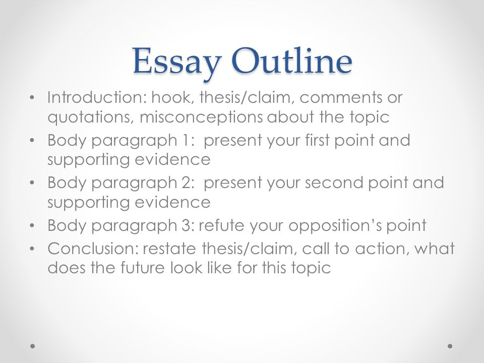 Essay Outline Introduction: hook, thesis/claim, comments or quotations, misconceptions about the topic Body paragraph 1: present your first point and supporting evidence Body paragraph 2: present your second point and supporting evidence Body paragraph 3: refute your opposition's point Conclusion: restate thesis/claim, call to action, what does the future look like for this topic