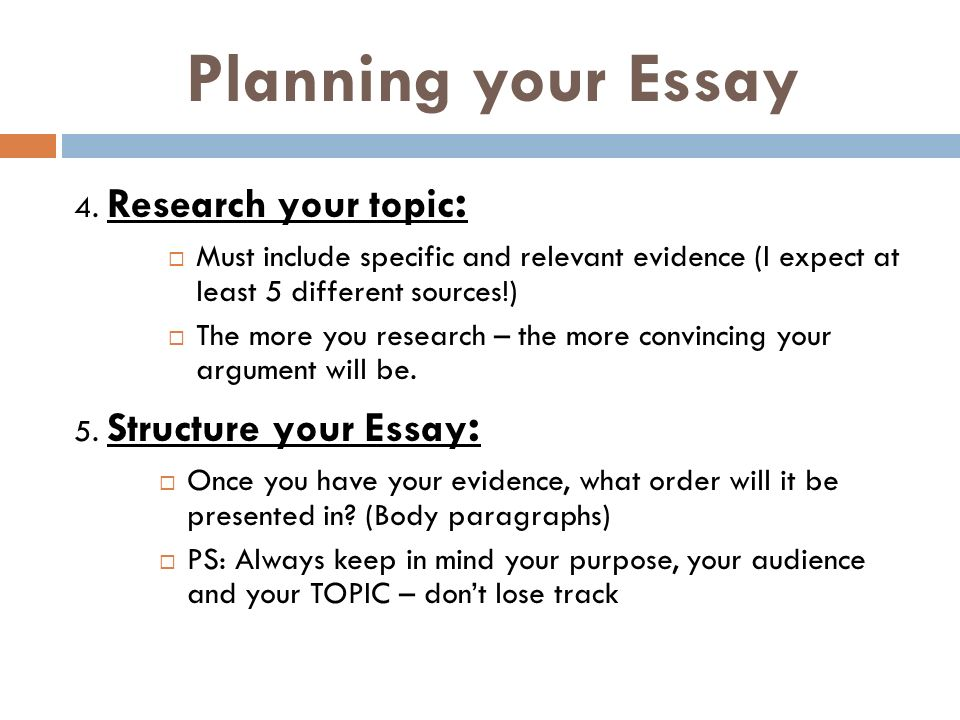 Planning your Essay 4.