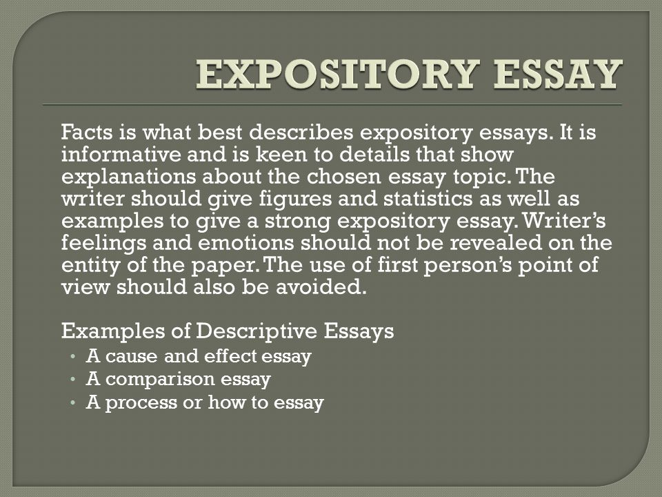 generally there are four major types of essays that depend on the 4 facts