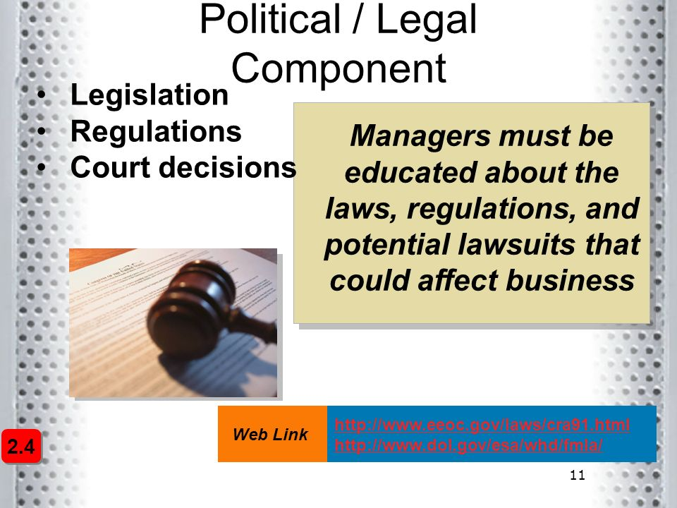 11 Political / Legal Component Legislation Regulations Court decisions Managers must be educated about the laws, regulations, and potential lawsuits t