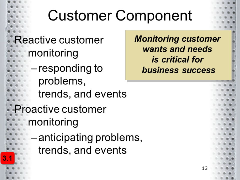 13 Customer Component Reactive customer monitoring –responding to problems, trends, and events Proactive customer monitoring –anticipating problems, t