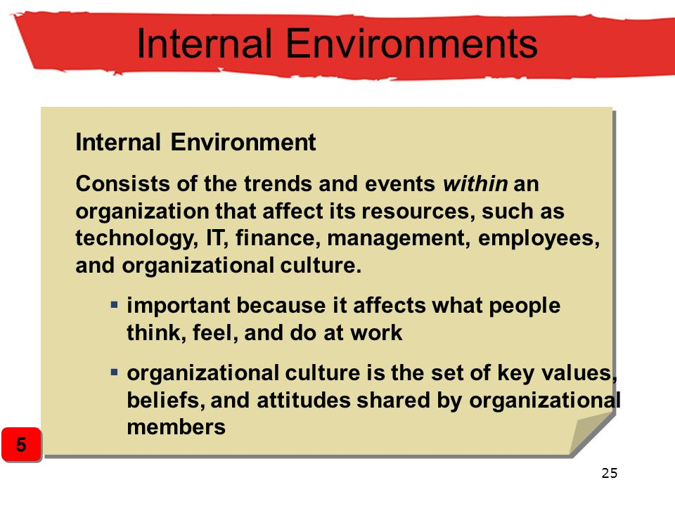 25 Internal Environments Internal Environment Consists of the trends and events within an organization that affect its resources, such as technology,