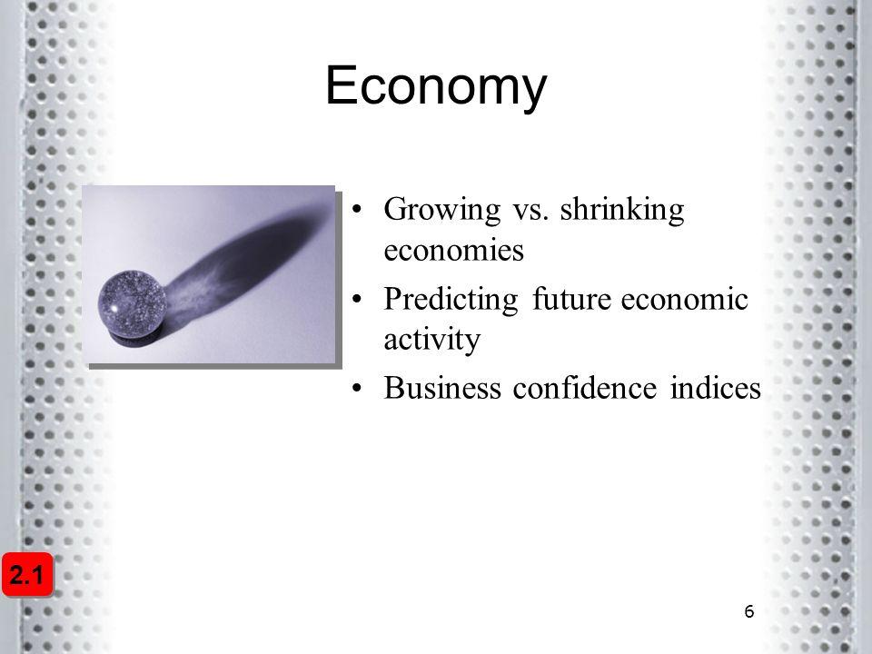 6 Economy Growing vs. shrinking economies Predicting future economic activity Business confidence indices 2.1