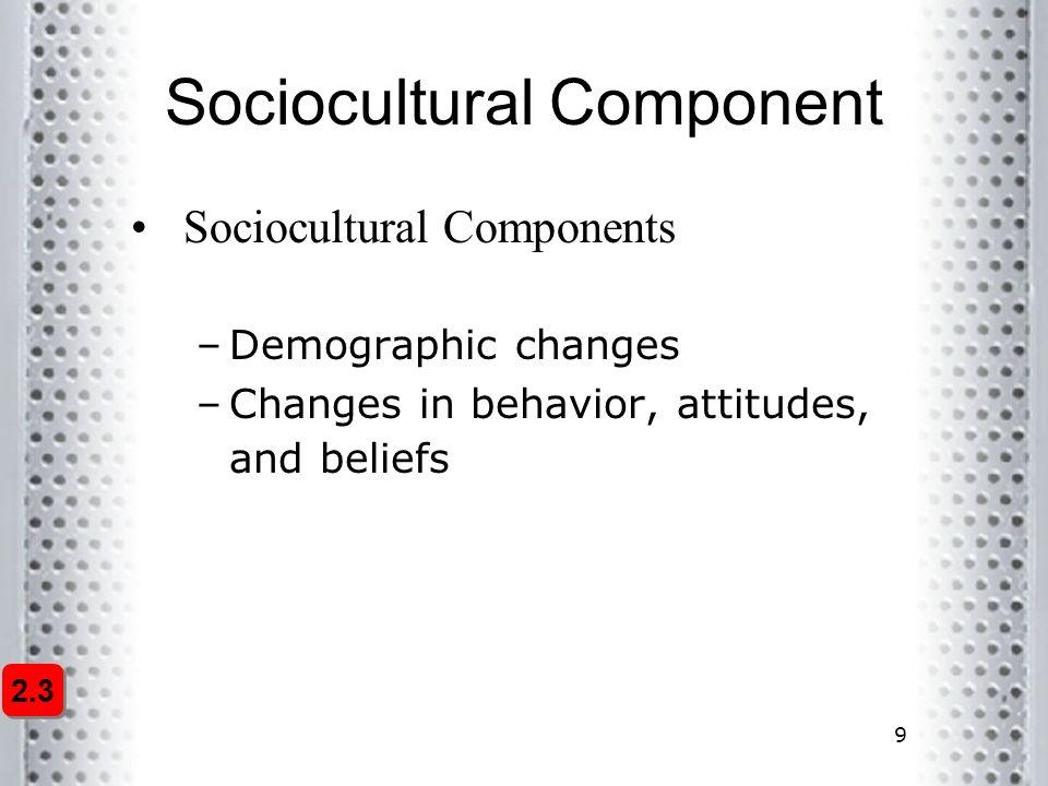 9 Sociocultural Component Sociocultural Components –Demographic changes –Changes in behavior, attitudes, and beliefs 2.3