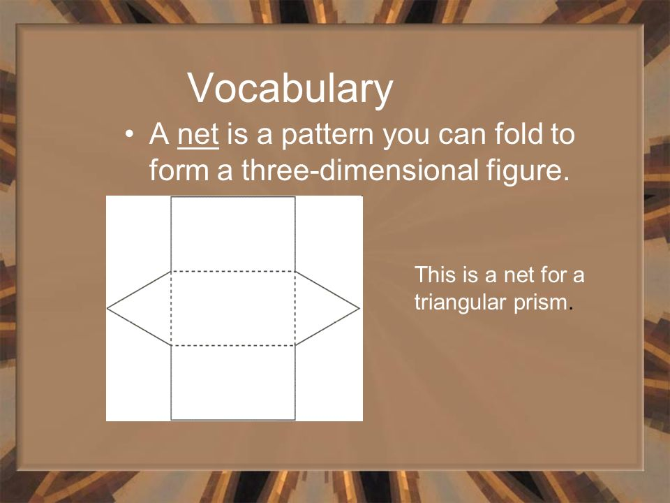 Vocabulary A net is a pattern you can fold to form a three-dimensional figure.