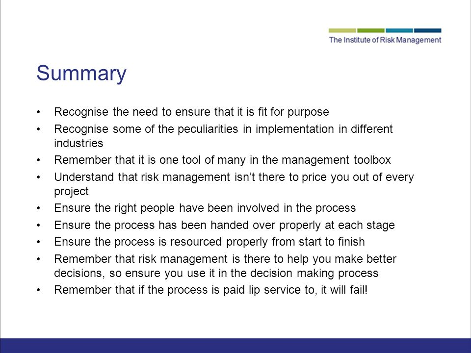 risk management summary Summary of business rma's priorities bulletins and handbooks risk management checklist risk management glossary swot analysis what to expect from your agent.