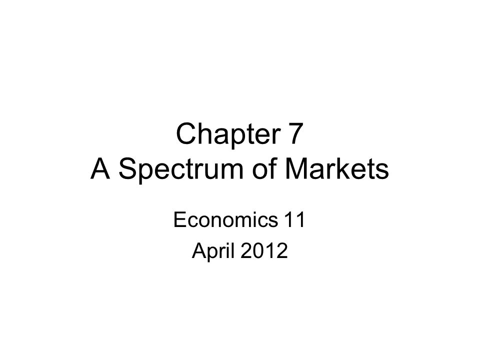 Chapter 7 A Spectrum of Markets Economics 11 April 2012