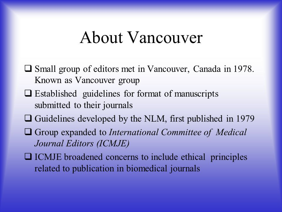 Referencing technique what is the vancouver referencing technique about vancouver small group of editors met in vancouver canada in 1978 ccuart Images