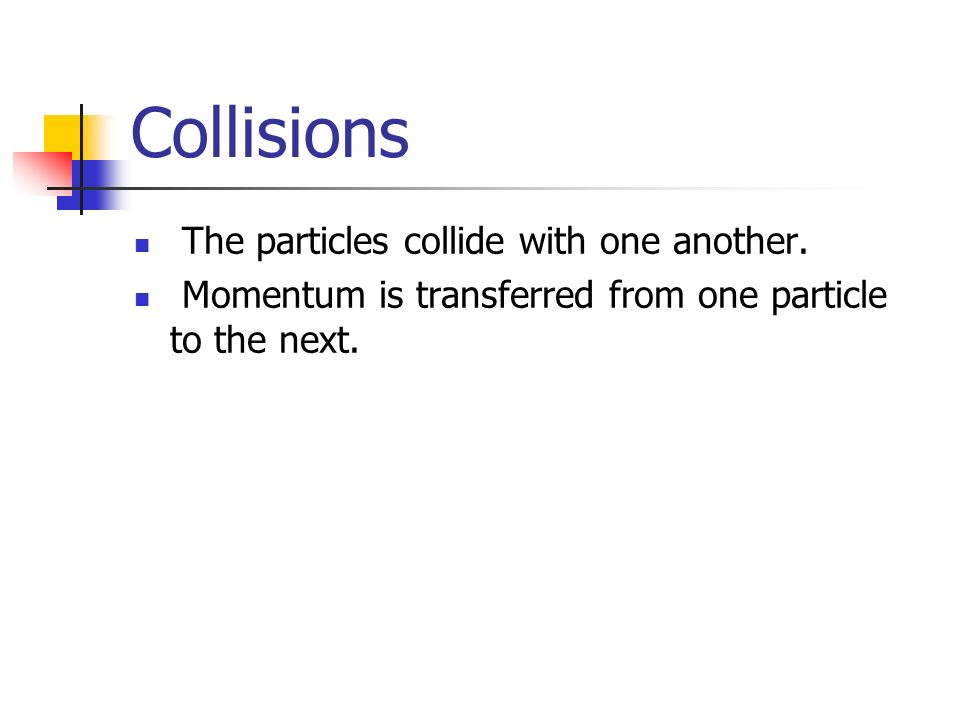 Collisions The particles collide with one another.