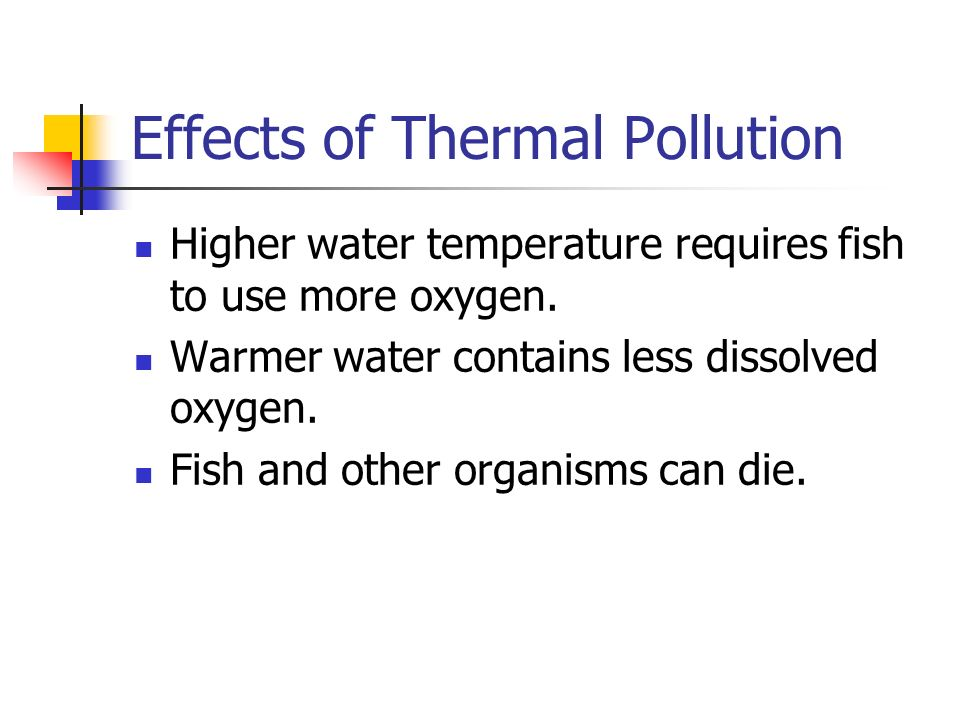 Effects of Thermal Pollution Higher water temperature requires fish to use more oxygen.
