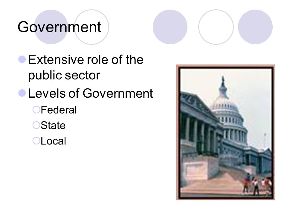 Government Extensive role of the public sector Levels of Government  Federal  State  Local